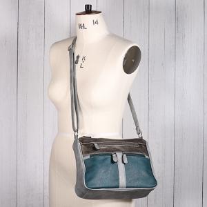 Ladies Twin Zip Shoulder Bag Teal Metallic
