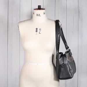 Ladies Triple Pocket Shoulder Bag Black