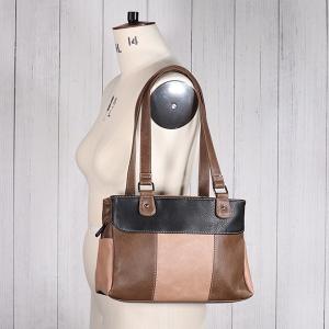 Ladies Triple Pocket Shoulder Bag Black Nude