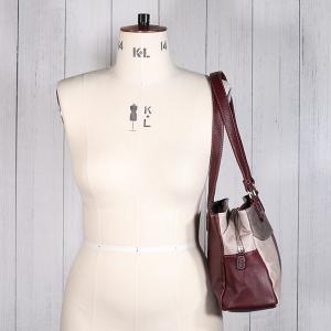 Ladies Triple Pocket Shoulder Bag Burgundy Taupe