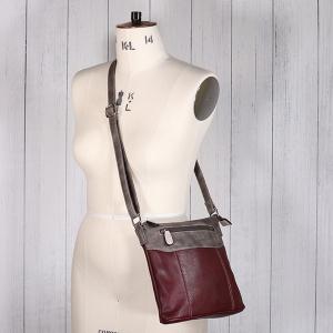 Ladies Multi Colour Cross Body Bag Burgundy