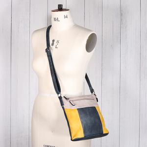 Ladies Multi Colour Cross Body Bag Mustard Navy