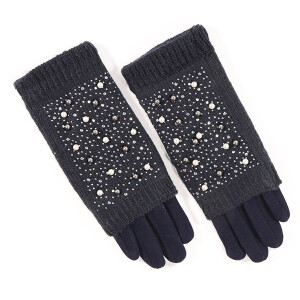 Ladies Glove With Pearl Fold Over Detail Black
