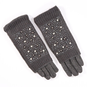 Ladies Glove With Pearl Fold Over Detail Charcoal