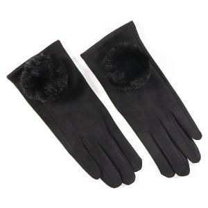 Ladies Glove With Fluffy Pom Pom Trim Black