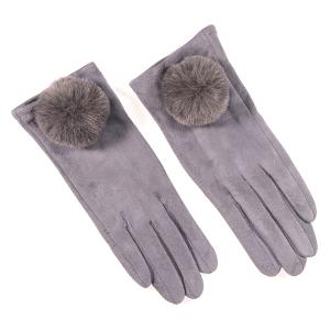 Ladies Glove With Fluffy Pom Pom Trim Grey