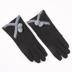 Ladies Glove With Faux Fur Trim And Pom Pom Detail Black
