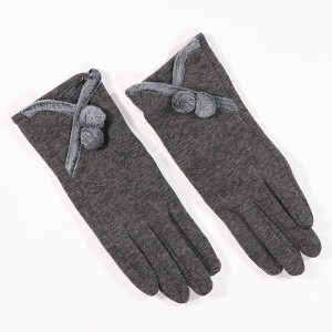 Ladies Glove With Faux Fur Trim And Pom Pom Detail Grey
