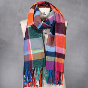 Ladies Scarf With Multicolour Check