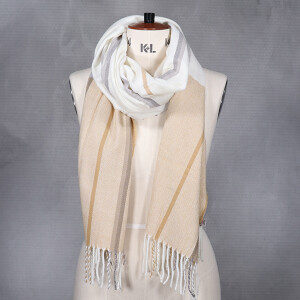 Ladies Woven Colour Block Brushed Scarf Camel White
