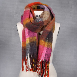 Ladies Woven Check Brushed Scarf