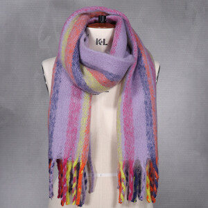 Ladies Woven Stripe Brushed Scarf Multi