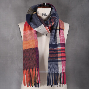 Ladies Woven Scarf Orange Blue