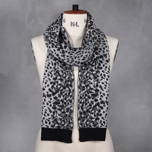 Ladies Animal Print Knitted Scarf Black