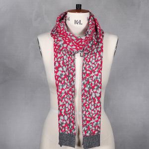 Ladies Animal Print Knitted Scarf Pink
