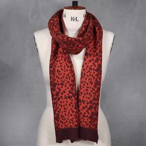 Ladies Animal Print Knitted Scarf Rust