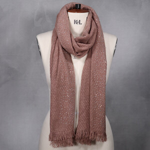 Ladies Woven Scarf With Diamante Detail Dusky Pink