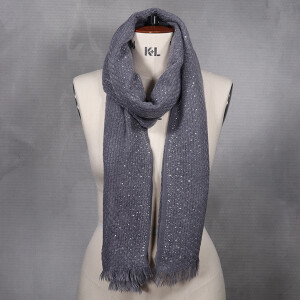 Ladies Woven Scarf With Diamante Detail Grey