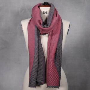 Ladies Reversible Crinkle Scarf Grey Pink