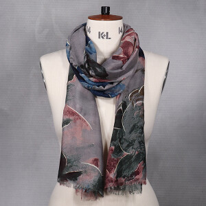 Ladies Abstract Floral Print Scarf Grey