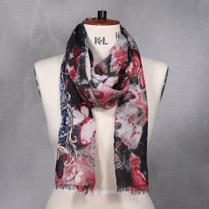 Ladies Abstract Butterfly Print Scarf Grey