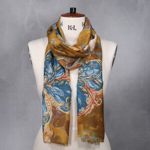 Ladies Abstract Butterfly Print Scarf Mustard