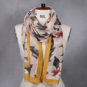Ladies Bold Flower Print Scarf Mustard