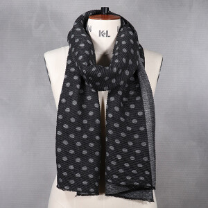 Ladies Knitted Scarf With Lurex Spot And Stripe Design Charcoal