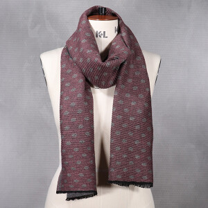 Ladies Knitted Scarf With Lurex Spot And Stripe Design Pink Grey