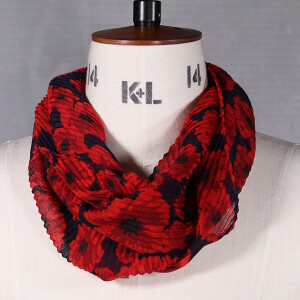 Ladies Magnetic Scarf In Poppy Print Navy