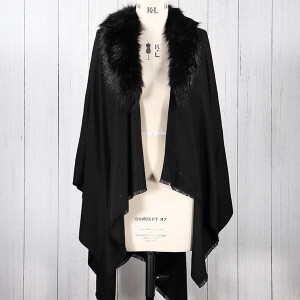 Ladies Scarf Wrap With Fur Collar And Diamante Detail Black