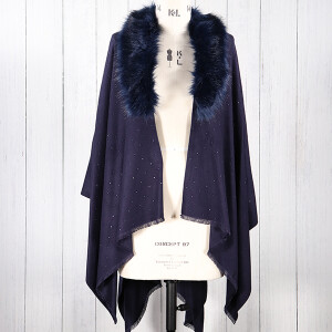 Ladies Scarf Wrap With Fur Collar And Diamante Detail Navy