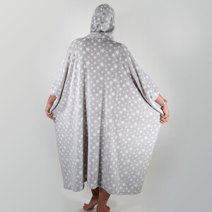 Star Print Snuggle Poncho Grey