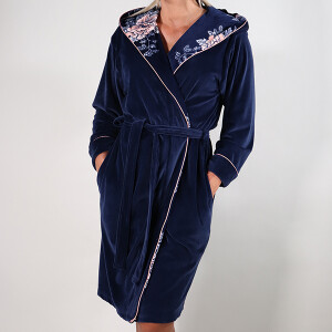 Japanese Garden Print Piped Velour Robe Navy