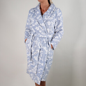 Shadow Print Shawl Collar Robe Blue