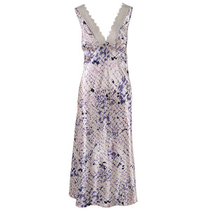 Ladies Printed Satin Nightdress Champagne