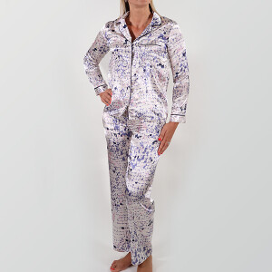 Ladies Printed Satin Pyjama Champagne
