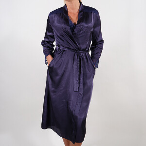 Satin Lace Wrap Long Navy