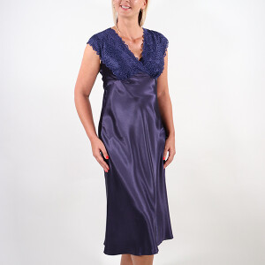 Ladies Printed Satin Lace Long Nightdress Navy