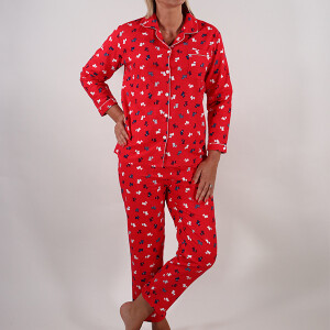 Ladies Scottie Dog Winceyette Pyjama Set Red