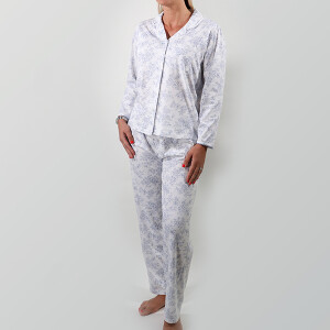 Printed Cotton China Pyjama Blue