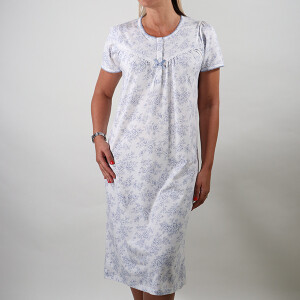 Printed Cotton Long Sleeved Nightdress Blue