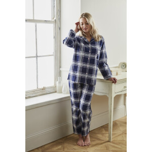 Ladies Tartan Winceyette Pyjama Set Navy