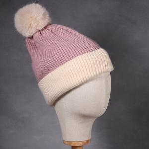 Ladies Sophia Beanie Hat Cream Pink