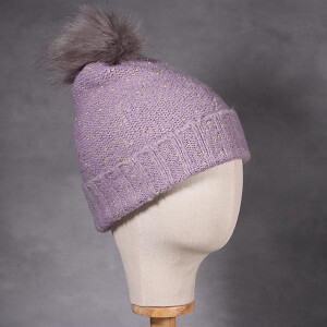 Ladies Beanie Hat With Lurex Detail Lilac