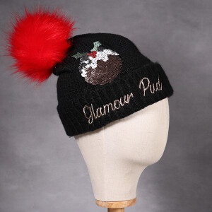 Ladies Sequin Christmas Pudding Hat
