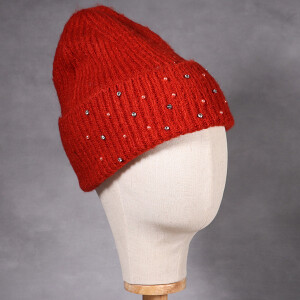 Ladies Beanie Hat With Embellishment Detail Rust
