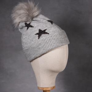Ladies Beanie Hat With Lurex Star Detail Grey