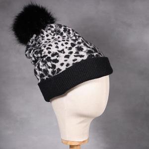 Ladies Animal Print Knitted Beanie Hat Black