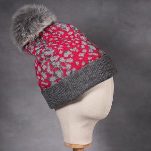 Ladies Animal Print Knitted Beanie Hat Pink